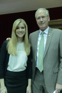 Miss America 2008 Kirsten Haglund stands with Representative Rick Stream, sponsor of the House version of the eating disorder insurance legislation. (Photo courtesy; Tim Bommel, Missouri House Communications)