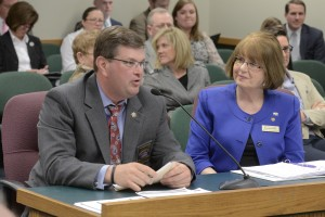 Jason Grellner testifies for the Missouri Narcotics Association at a hearing on April 13, 2015 for Representative Patricia Pike's (right) bill proposing a ban of powdered alcohol in Missouri.  (photo courtesy; Tim Bommel, Missouri House Communications)