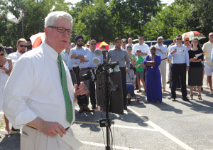 Standing in 96 degree heat, Missouri Lt. Gov. Peter Kinder announces he will seek the office of Governor during a press conference in Dellwood, Missouri on July 12, 2015. Kinder, who has been Lt. Gov since 2005 made his announcement near Ferguson, MO, the site of unrest and protests last year. Photo by Bill Greenblatt/UPI