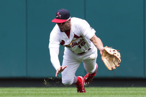 St. Louis Cardinals Randal Grichuk makes a diving attempt on a ball hit by Atlanta Braves Freddie Freeman in the third inning at Busch Stadium in St. Louis on July 26, 2015. The hit was good for a single.   Photo by Bill Greenblatt/UPI