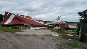 An EF-1 tornado collapsed this shed east of Kelso the evening of July 8, 2015.  (photo courtesy; National Weather Service)
