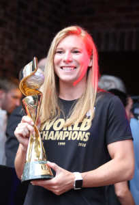 Lori Chalupny, member of the 2015 FIFA Women's World Cup championship team displays the championship trophy in St. Louis on July 27, 2015. Chalupny was on hand for the announcement that the U.S. Men's National team will play its first home match of 2018 FIFA World Cup Qualifying at Busch Stadium in St. Louis, Missouri. The match will be played November 13, 2015 against the winner of the Third Round Qualifying match between St. Vincent & The Grenadines and Aruba.  Photo by Bill Greenblatt/UPI