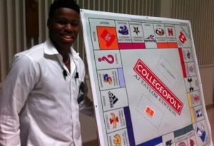 A.J. Taylor poses with his monopoly board. Photo from Randy Withers. Give him a follow on Twitter