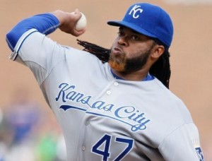 Johnny Cueto has failed to get a win in his first two starts for the Royals (photo/MLB)