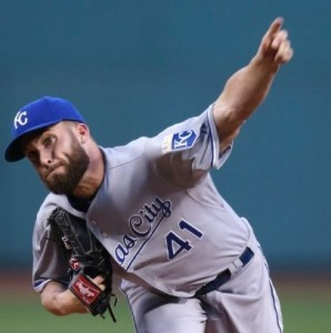 Danny Duffy took the loss in the series opener at Boston (photo/MLB)
