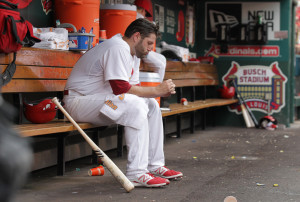 St. Louis Cardinals starting pitcher Lance Lynn sits alone in the dugout in the first inning against the Pittsburgh Pirates at Busch Stadium in St. Louis on August 13, 2015. Lynn gave up seven runs before coming out of the game in the first inning.     Photo by Bill Greenblatt/UPI