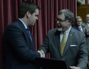 Representatives Scott Fitzpatrick (left) and Tom Flanigan.
