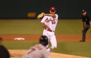 St. Louis Cardinals starting pitcher Michael Wacha snags a linedrive off the bat of San Francisco Giants Gregor Blanco in the fifth inning at Busch Stadium in St. Louis on August 17, 2015.    Photo by Bill Greenblatt/UPI