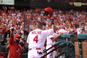 St. Louis Cardinals Yadier Molina tips his cap to the crowd after a hitting a solo home run in the eighth inning against the San Francisco Giants at Busch Stadium in St. Louis on August 19, 2015. St. Louis won the game 4-3.   Photo by Bill Greenblatt/UPI