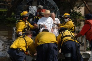 Missouri Task Force One members helping victims to safety during Hurricane Katrina