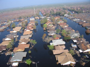Aerial photo of Hurricane Katrina flooding