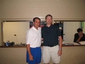 Ryan Shaw (R) with Duke men's basketball coach Mike Krzyzewski (via Twitter)