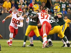 Allen Bailey puts pressure on Aaron Rodgers (photo/KC Chiefs.com)