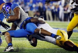 Kentrell Brothers make a stop on Jo Jo Kemp.  He is questionable for this weekend's game (photo/Mizzou Athletics)