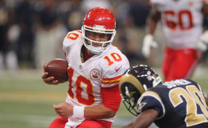 Kansas City Chiefs quarterback Chase Daniel runs the football against the St. Louis Rams in the second quarter at the Edward Jones Dome in St. Louis on September 3, 2015.  Photo by Bill Greenblatt/UPI