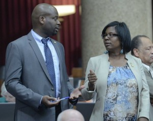 "Representatives Clem Smith (left) and Karla May both spoke in opposition to ""right to work."" (photo courtesy; Tim Bommel, Missouri House Communications)"