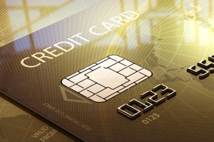 Credit card with data chip
