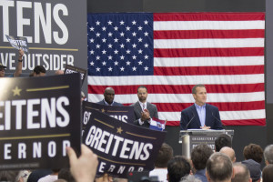 Eric Greitens makes a long-anticipated announcement of his campaign for governor to a crowd of supporters in Maryland Heights, Missouri.  (photo; Audrey Schroeder)
