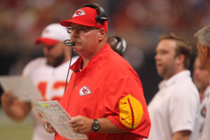 Kansas City Chiefs head football coach Andy Reid watches the action against the St. Louis Rams in the first quarter at the Edward Jones Dome in St. Louis on September 3, 2015. Photo by Bill Greenblatt/UPI