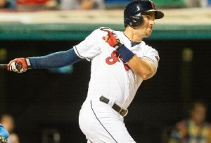 Lonnie Chisenhall watches an RBI double (photo/MLB)