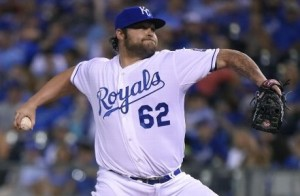 Joba Chamberlain made his debut with the Royals.   He was charged with two runs on two hits and a walk while striking out two (photo/MLB)