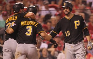 Pittsburgh Pirates Jordy Mercer (R) and Francisco Cervelli congratulate Sean Rodriguez after he reaches home plate hitting a two run home run in the eighth inning against the St. Louis Cardinals at Busch Stadium in St. Louis on September 6, 2015.  Photo by Bill Greenblatt/UPI