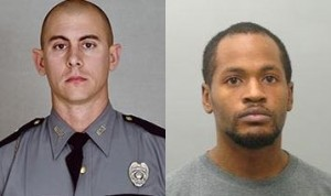 Kentucky State Trooper Joseph Cameron Ponder was fatally shot by Joseph Thomas Johnson-Shanks (right) late Sunday night, according to Kentucky authorities.
