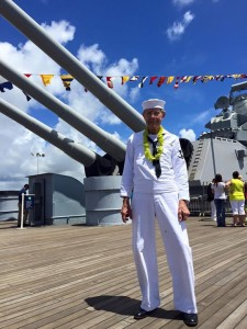 Ray Morse was aboard the U.S.S. Missouri last week during a ceremony marking the 70th anniversary of Japan's surrender, ending World War II.  (photo courtesy; Battleship Missouri memorial Facebook page)