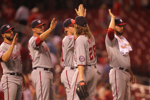 Washington Nationals Jason Werth celebrates a 4-3 win over the St. Louis Cardinals with teammates at Busch Stadium in St. Louis on September 2, 2015.  Photo by Bill Greenblatt/UPI