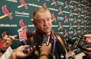 Former St. Louis Cardinals manager and member of the National Baseball Hall of Fame Whitey Herzog comments on the death of pitcher Joaquín Andújar before a game between the Chicago Cubs and the St. Louis Cardinals at Busch Stadium in St. Louis on September 8, 2015. Andujar died at the age of 62 after a battle with diabetes.   Photo by Bill Greenblatt/UPI