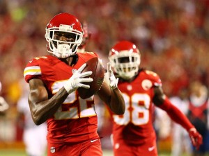 For the second week in a row, rookie Marcus Peters comes up with an interception. Peters picked Manning for a 55-yard touchdown (photo/KCChiefs)