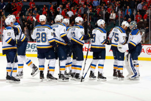 The Blues skate off with a win in Calgary (photo/Blues)