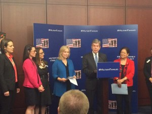Senator Roy Blunt (at podium) and Senator Kirsten Gillibrand (left) are two of the four Senate sponsors of the Military Family Stability Act.  (courtesy; Sen. Blunt's Twitter feed)
