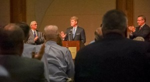 "Attorney General Chris Koster tells the Missouri Electric Cooperatives he will join at least 20 other state attorneys general in challenging the Environmental Protection Agency's ""clean power plan.""  (courtesy, @MOAGOpress on Twitter)"