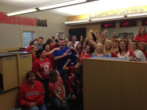 Employees and staff of Missourinet and Learfield News show off their Cardinals pride (Most everyone)