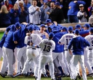The Chicago Cubs celebrate their series victory over the Cardinals (photo/MLB)