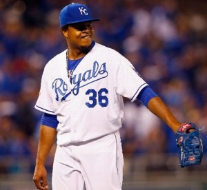 Edinson Volquez pitched six shutout innings for a Game one ALCS win (photo/MLB)