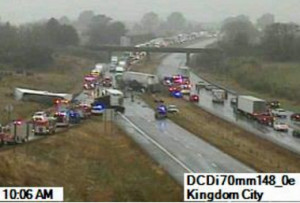 One of the Transportation Department's traffic cameras caught this image of the fatal accident on I-70 Tuesday morning.