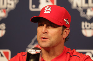 St. Louis Cardinals manager Mike Matheny talks to reporters following the team workout session at Busch Stadium in St. Louis on October 8, 2015. St. Louis will face the Chicago Cubs in Game 1 of the National League Division Series on October 9 at Busch Stadium. Photo by Bill Greenblatt/UPI