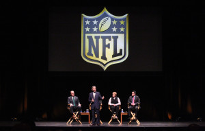 Represenatives from the National Football League (L to R) Chris Hardart, Eric Grubman, Cynthia Hogan and Jay Bauman listen and discuss the St. Louis Rams possible move to Los Angeles during a town hall meeting at the Peabody Opera House in St. Louis on October 27, 2015. The Rams owner Stan Kronke has hinted that he wants to move the team to Los Angeles. Town hall meetings are also scheduled for Oakland and San Diego. Photo by Bill Greenblatt/UPI