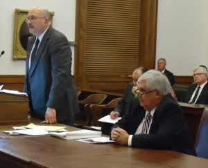 State attorney Robert Bartholomew (standing) and attorney for Blaec Lammers, Donald R. Cooley (seated) argue Lammers' case before the Missouri Supreme Court.