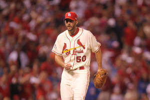 St. Louis Cardinals pitcher Adam Wainwright pumps his fist after getting the third out against the Chicago Cubs in the eighth inning of Game 2 of the National League Division Series at Busch Stadium in St. Louis on October 10, 2015. Chicago won the game 6-3. Photo by Bill Greenblatt/UPI