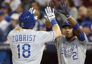 Ben Zobrist and Alcides Escobar have helped move the Royals one game away from a World Series (photo/MLB)
