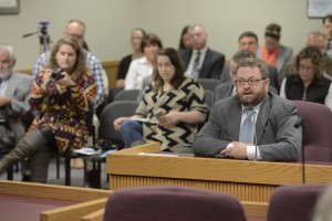 The Chief Clerk of the Missouri House, Adam Crumbliss, testifies to a House committee about a proposed intern policy for the chamber.  (photo courtesy; Tim Bommel, Missouri House Communications)