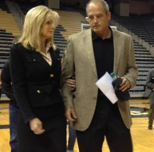 Gary Pinkel and his wife Missy arrive at Mizzou Arena ahead of his resignation press conference on November 16, 2015