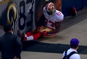 Reggie Bush was unable to slow down on the concrete, injuring his ACL