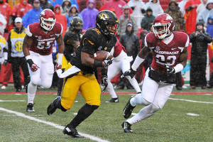 University of Missouri Tigers Russell Hansbrough runs the football in the first quarter against the Arkansas Razorback's at Donald W. Reynolds Razorback Stadium in Fayetteville, Arkansas on November 27, 2015. Missouri could only muster 171 yards in the 28-3 loss. Photo by Bill Gutweiler/UPI