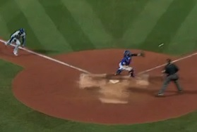 Clear to see a good throw by Lucas Duda would have had Eric Hosmer in an easy out at the plate.