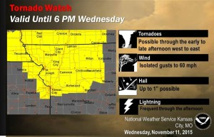 The National Weather Service has issued a tornado watch in northwest Missouri until 6 p.m.