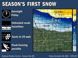 This graphic from the National Weather Service shows the amounts of snow predicted to fall in northernmost and northeast Missouri overnight.